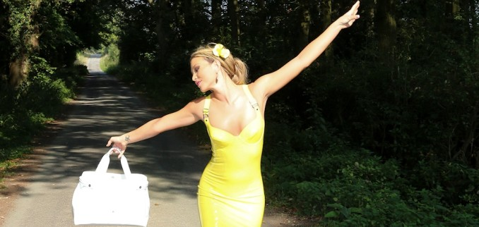 Yellow Latex Dress Outdoors