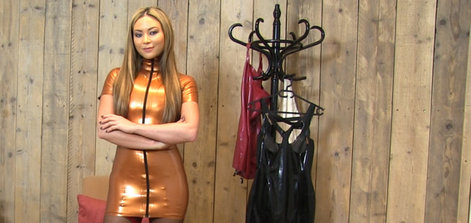 VIDEO: JOI in Bronze Latex and Black and Red Nylons