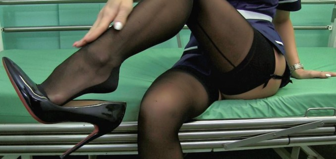 VIDEO: Nurse in stockings