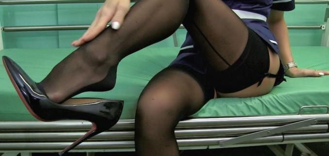 VIDEO: Nurse in stockings